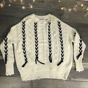 Lace Ribbon cable knit Sweater